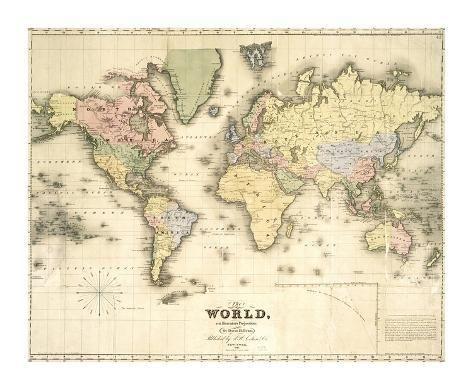 The World On Mercator S Projection Premium Giclee Print David H Burr Art Com In 2021 Vintage Maps Printable Vintage Map Vintage Maps