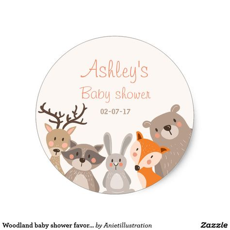 Woodland baby shower favor tag Sticker Animals Fox ♥ Your own Sticker, Cupcake Topper, Favor Tag or Envelope Seal! Woodland baby shower theme.