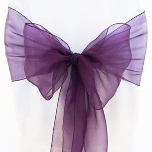 Plum Eggplant Organza Chair Sash By Recycledbridaldecor On Etsy 1 00 Wedding Pinterest Sashes And Covers