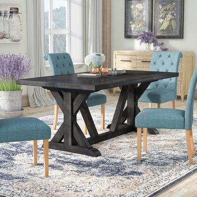 Laurel Foundry Modern Farmhouse Sydney Solid Wood Dining Table Color Grey In 2020 Dining Table Solid Wood Dining Table Table