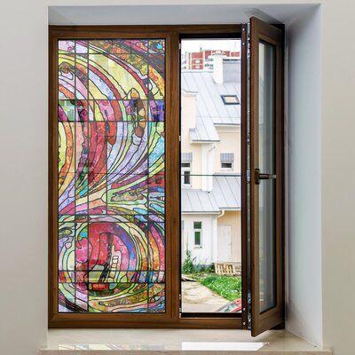 Ebern Designs Non Adhesive Decorative Privac Window Decal Window Decor Window Decals Window Film Privacy Decorative static cling window decals