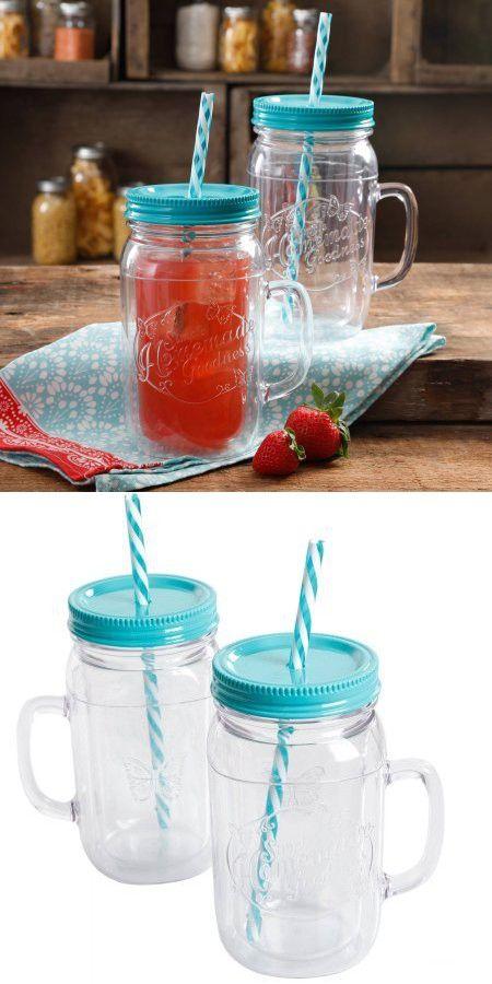 The Pioneer Woman Simple Homemade Goodness 32 Ounce Deep Aqua Double Wall Mason Jar With Lid And Handle Set Of 2 Jar Mason Jars Mason