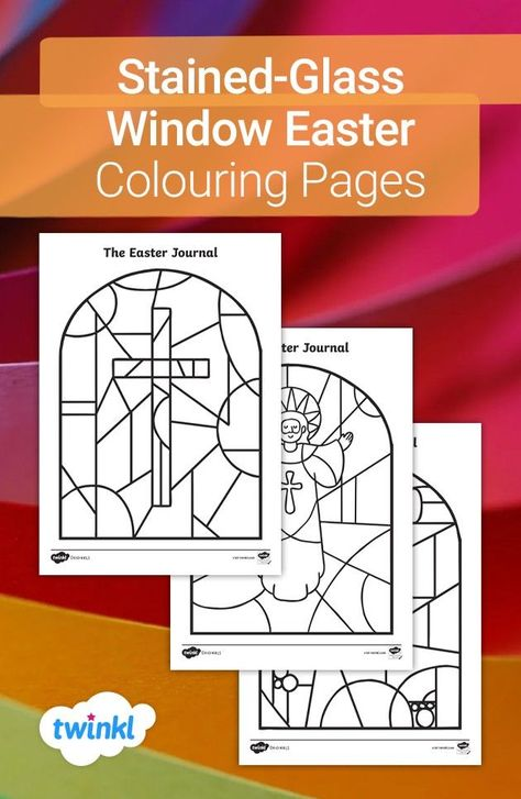 Feel the Easter atmosphere with these beautiful colouring pages! Featuring lovely illustrations of stained-glass windows from the Twinkl Originals story, The Easter Journal, these colouring sheets make links to key aspects of this religious festival. Click to download this activity along with the Twinkl Originals story!  #stainedglass #window #colouringpages #easter #spring #theeasterjournal #crafts #eastercrafts #home #parents #twinkl #twinklresources #colouring #homeeducation #homeschool