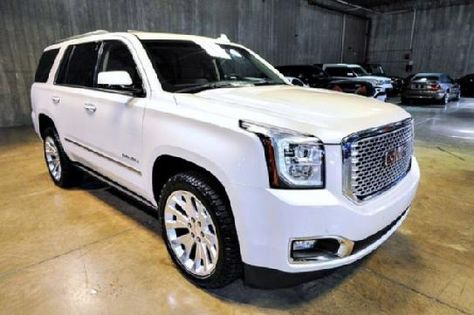 """2015 GMC Yukon Denali, White Diamond Tricoat Exterior/Cocoa/Dark Atmosphere Interior, Premium Pkg., Open Road Pkg., Rear Entertainment System, 22"""" Wheels, Enhanced Security Pkg., Every Option, Available Only 501 Miles, Asking Only $78900.00. Contact me at tafsr192@aol.com"""