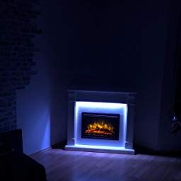 Richen Mt119c Ef119b Electric Fireplace With Heating Led Lighting 3d Flame Effect And Remote Control White Ama Led Beleuchtung Elektrokamin Elektrischer Kamin