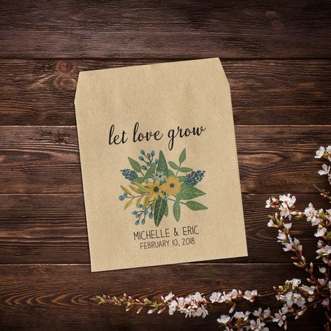 Custom Seed Packets, Wedding Seed Packets, Rustic #seedpackets #seedfavors #weddingfavors #weddingseedfavor #rusticsavethedate #rusticweddingfavor #wildflowerseeds #letlovegrow #seedpacketfavor #rusticwedding #flowerseedpackets #bohowedding #woodlandwedding