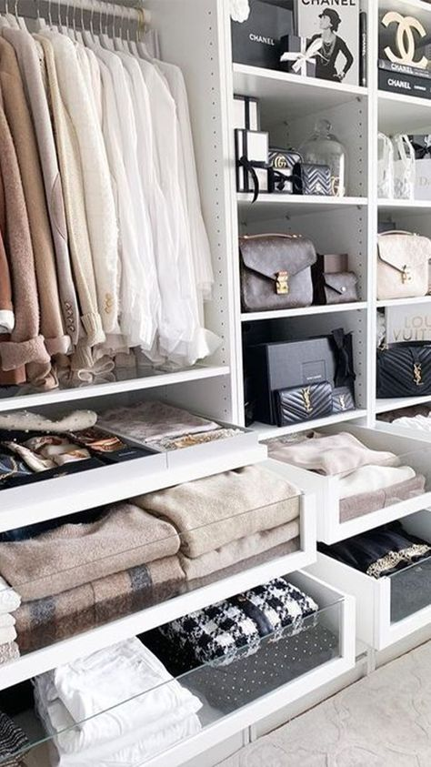 ▷ 1001 ideas for dressing room furniture that will enchant your home Dressing room closet, designing an ikea open wardrobe, clothes rail and small closet for bags, white and beige cozy workspace bedroom design.