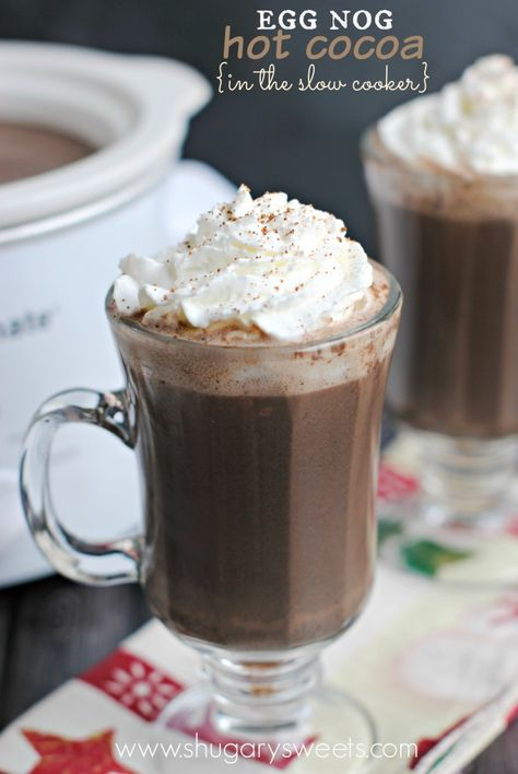 Slow Cooker Egg Nog Hot Cocoa: you can make on stove top too! It's so creamy and delicious!
