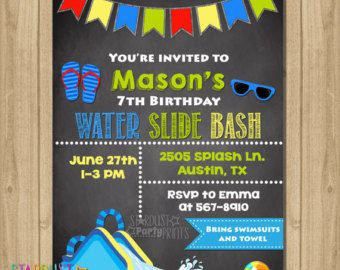 Water Slide Party Invitation Girl Waterslide Birthday