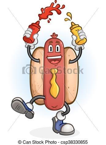 Vector Hot Dog Dancing Cartoon Character Stock Illustration