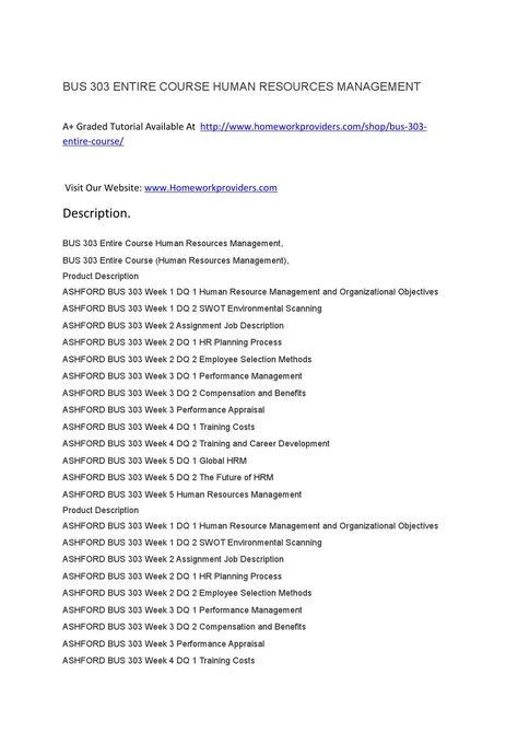 BUS 303 ENTIRE COURSE HUMAN RESOURCES MANAGEMENT Resource - human resource management job description