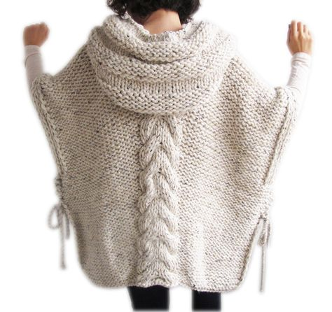 Plus Size Knitting Poncho with Hoodie Over Size Tweed by afra