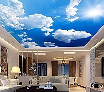 Amazon Weaeo カスタム3d天井壁画の壁紙青空と白い雲の家の