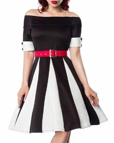 Details Zu Schwarzes Godet Kleid Mit Weissen Keilen Und Rotem Gurtel Schulterfrei Rockabil Roter Gurtel Kleider Modestil