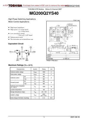 Mg200q2ys40 Toshiba Igbt Power Module Toshiba Power Application Download