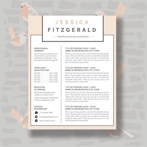 Resume Template CV Template for Word 4 Pack + social media icons