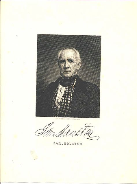 Portrait of Sam Houston with signature. Tennessee State Library and Archives.