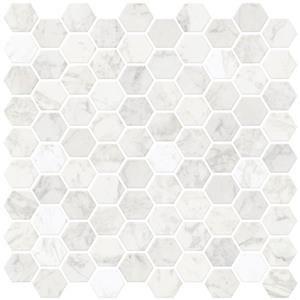 Wallpops Hexagon Peel Stick Backsplash Tiles 20 In X 20 In Marble Lowe S Canada Stick Tile Backsplash Stick On Tiles Peel Stick Backsplash