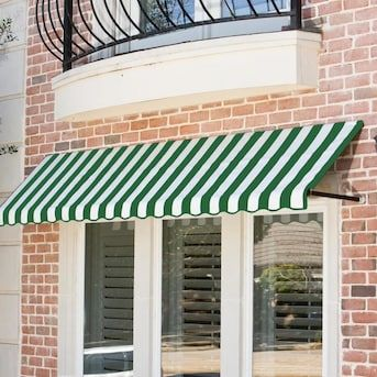 Awntech Dallas Retro 40 5 In Wide X 30 In Projection Forest White Striped Striped Open Slope Window Door Fixed Awning Lowes Com In 2020 Window Awnings Canvas Awnings Awning
