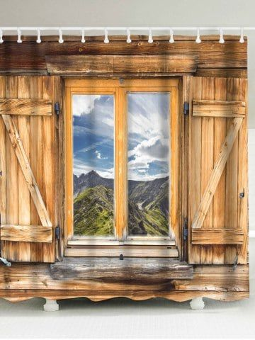 Wood Window Landscape Printed Shower Curtain With Images