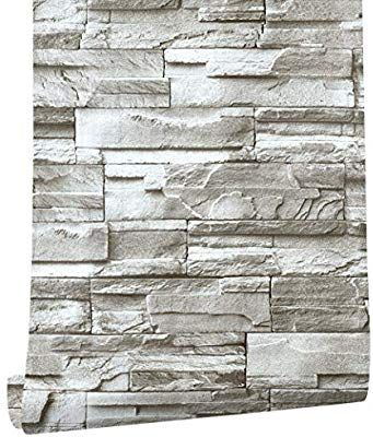 Haokhome 13991 Faux Stacked Stone Peel And Stick Wallpaper Taupe Tan Brick Self Adhesive Contact Paper Ama Peel And Stick Wallpaper Stacked Stone Wallpaper