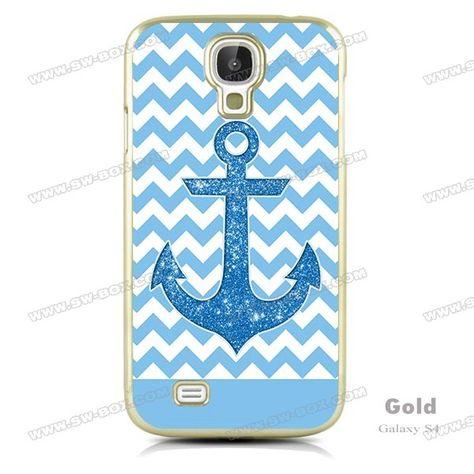 Blue Glitter Anchor White Chevron Samsung Galaxy S4 Case | SW-BOX.com