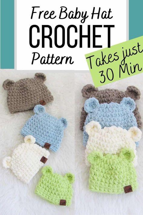 Crochet Baby Hats Free Pattern, Crochet Hats For Boys, Cute Crochet, Crochet Blanket Patterns, Crochet Gifts, Baby Blanket Crochet, Crochet Yarn, Hats For Kids, Beginner Crochet Hat