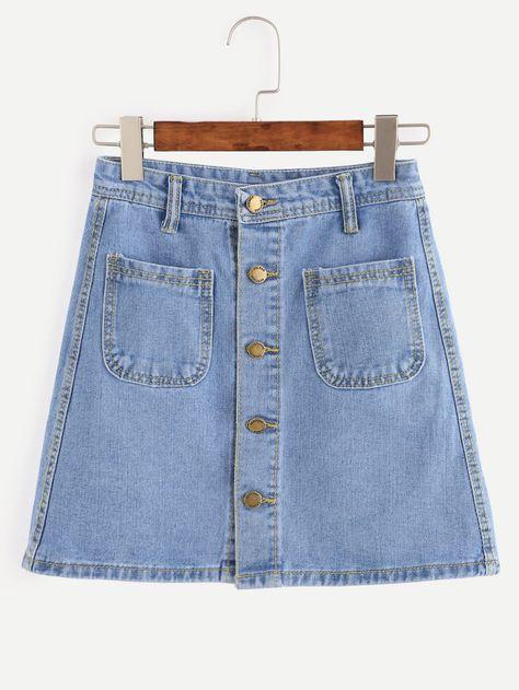 7e6ff436b3 Blue Button Front Dual Pocket A Line Denim Skirt -SheIn(Sheinside ...
