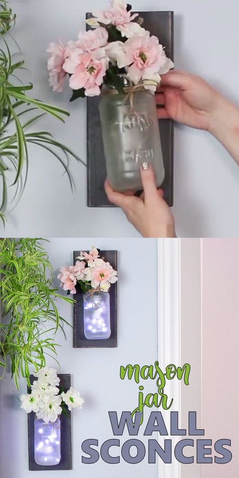 These DIY rustic mason jar wall sconces are a pretty way to add some coziness and farmhouse charm to any room. Step-by-step tutorial included! #masonjar #masonjarcrafts #wallsconces #lanterns #walldecor #homedecor #adultcrafts #rusticdecor #farmhousedecor #fairylights
