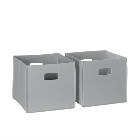 Riverridge Home 10 5 In X 10 In Folding Storage Bin Set In Gray 2 Piece Storage Bins Fabric Storage Bins Toy Storage Bins