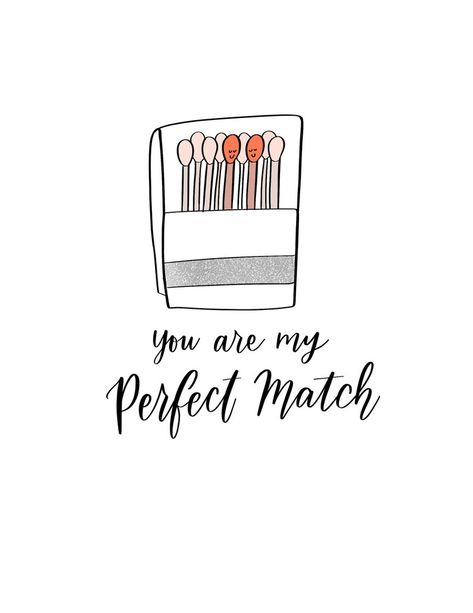 You Are My Perfect Match Cute Funny Illustrated Hand Lettered | Etsy