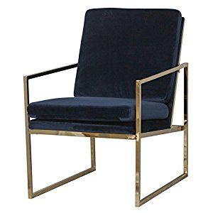 Armchair Brass Plated Gold Finish Metal Steel Frame Navy Blue Velvet Fabric Upholstery 1 Single Seat Lo Blue Lounge Chair Velvet Lounge Chair Gold Living Room