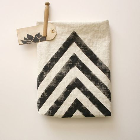 Hand Printed Tea Stained Dish Towel - Chevron - Polka Dot - Black - Tan - Rustic - Desert - arrow