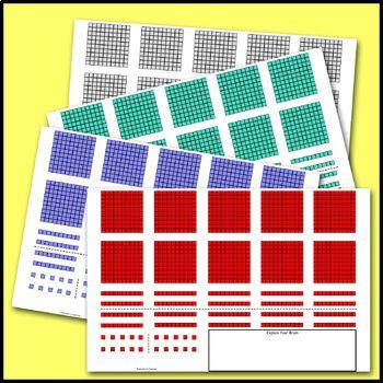 Base 10 Blocks For Addition Subtraction To 1000 Math Mat Math Mats Brain Math Subtraction