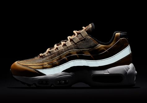 5fa29a451da24 2017 Fall Winter New NIKE Air Max 95 Metallic Gold Varsity Red White Black  884421-700