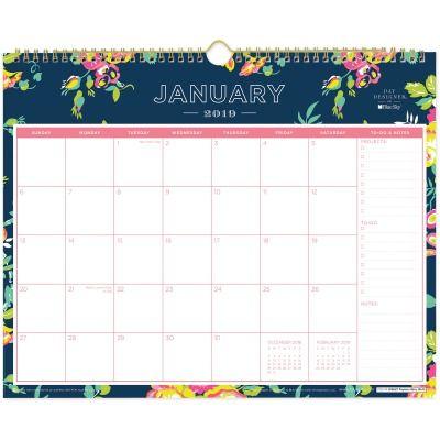 Blue Sky Day Designer Navy Floral Wall Calendar Since 2019 Is Just Around The Corner A Calendar Makes A Perfec Day Designer Wall Calendar Blue Sky Calendars