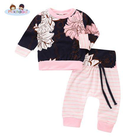 2Pcs//Set Baby Girl Boy Long Sleeve Elephant Bodysuit+Long Pants Outfit Clothes