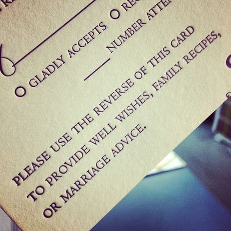 Sweet idea for an #rsvp card! #letterpress #weddinginvitation #marriageadvice