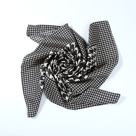 Large Square Silk Twill Scarf Black and White Polka Dot Print XWC078