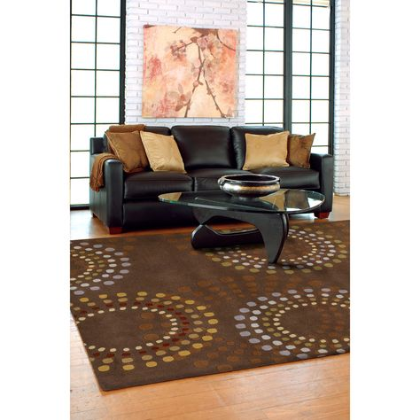Hand Tufted Brown Contemporary Circles Mayflower Wool Geometric Area Rug 10 X 14 Contemporary Area Rugs Geometric Rug Cool Rugs
