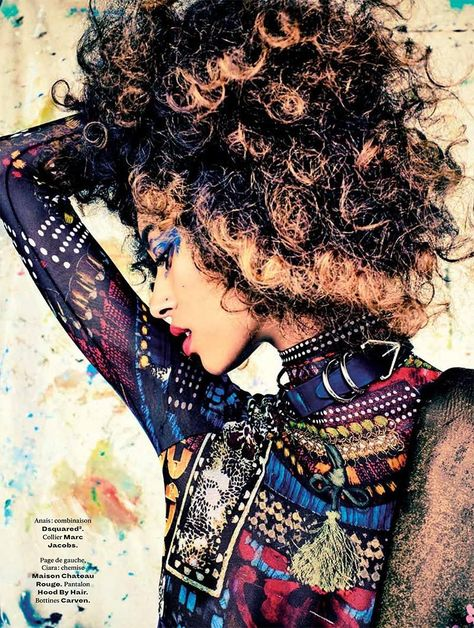 """Anais Mali in """"Black Beauty Matters!"""" photographed by Jenke Ahmed Tailly for L'Officiel Magazine (September 2016)."""