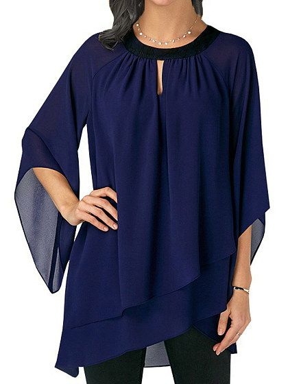 LADIES TOP BLOUSE CHIFFON WOMENS CASUAL CHIFFON T SHIRT LOOSE UK NEW BLUE ROYAL