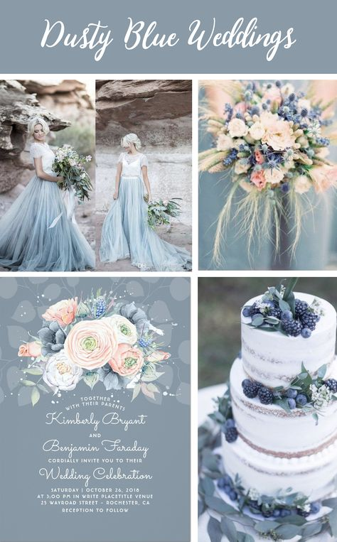 Dusty Blue pale blue slate blue wedding French blue and serenity peach dusty rose wedding ideas Peach blue and rose wedding invitation by Lovelywow at Pastel blue cake p.