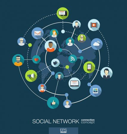 Social Network Connection Concept Stock Vector Sponsored Connection Network Social Vecto Networking Infographic Abstract Backgrounds Abstract Logo