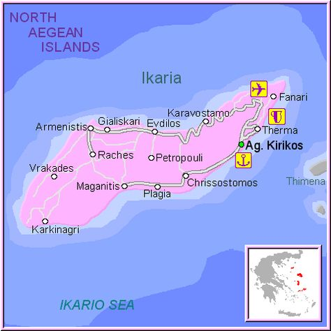 Grecia Greece North Aegean Islands Mapa De La Isla De Ikaria