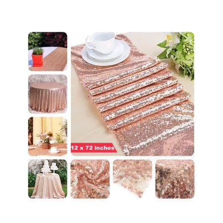10 Pcs 12 X 72 Inches Sequin Sparkly Table Cloth Fabric Tablecloth Table Runner Wedding Eve Sparkly Table Cloth Wedding Table Decorations Diy Tablecloth Fabric