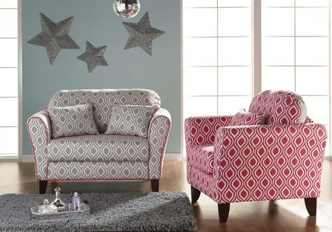 THE ALIVIA LOVESEAT AND ARM CHAIR. PERFECT FOR THE YOUNG FASHIONISTA