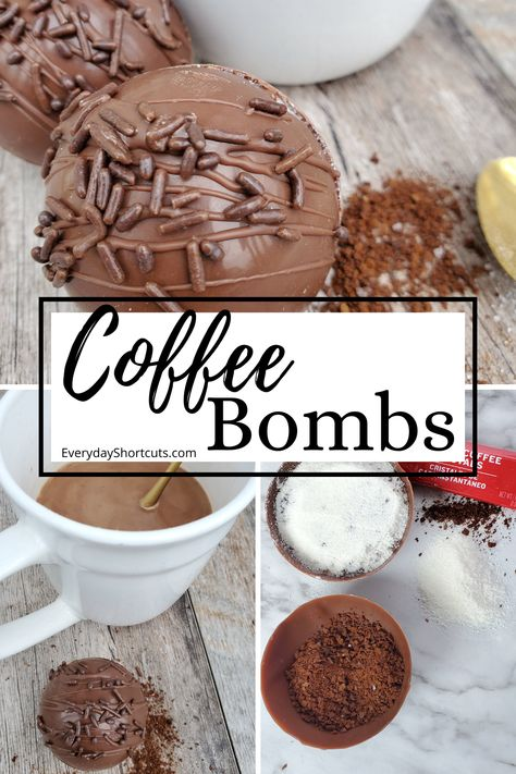 These Coffee Bombs are a coffee explosion in a cup filled with the right amount of caffeine and creamer to get your morning started! Hot Chocolate Coffee, Hot Chocolate Gifts, Chocolate Covered Treats, Christmas Hot Chocolate, Homemade Hot Chocolate, Chocolate Bomb, Hot Chocolate Bars, Hot Chocolate Recipes, Coffee Bomb Recipe