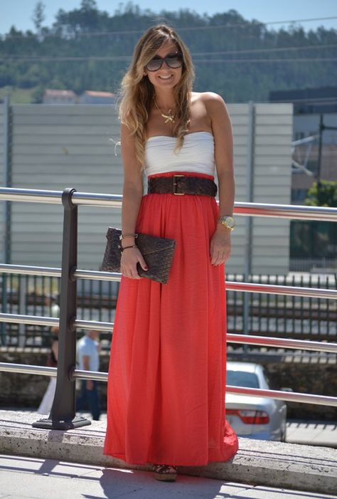 Really like this look {bandeau top under long skirt, hidden w/wide belt: simple, high-impact & most importantly it's comfy!}