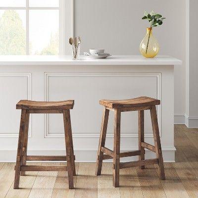 Halifax Farmhouse Wood Counter Height Barstool Brown Threshold In 2021 Wood Counter Stools Wood Counter Counter Stools